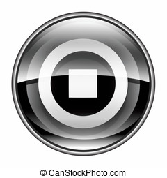 Stop icon black, isolated on white background.
