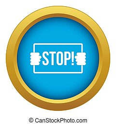 Stop icon blue isolated