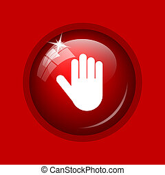 Stop icon. Internet button on red background.