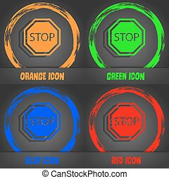Stop icon. Fashionable modern style. In the orange, green, blue, red design. Vector