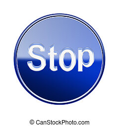 Stop icon glossy blue, isolated on white background