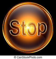 Stop icon gold, isolated on black background