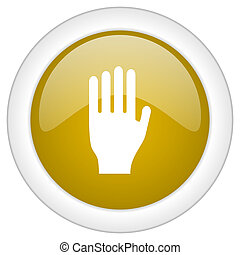 stop icon, golden round glossy button, web and mobile app design illustration