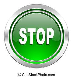 stop icon, green button