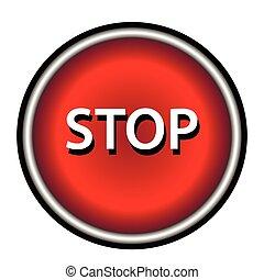 Stop icon. Internet button on white