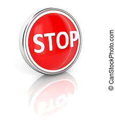 Stop icon on glossy blue round button