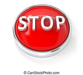 Stop icon on glossy red round button