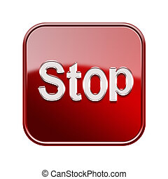 Stop icon red, isolated on white background