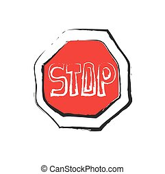 Stop icon, road signs, vector