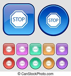 Stop icon sign. A set of twelve vintage buttons for your design. Vector