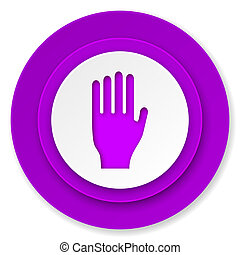 stop icon, violet button, hand sign
