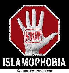 Stop Islamophobia conceptual illustration. Global social problem
