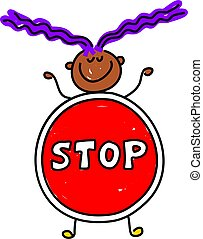 stop kid - little ethnic girl dressed up as a stop sign...