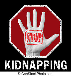 Stop kidnapping conceptual illustration. Global social problem