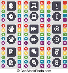 Stop, Laptop, Golf hole, Hand, Rewind, Arrow up, ZIP file, Chat, Medal icon symbol. A large set of flat, colored buttons for your design. Vector