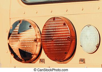 Stop Lights On American School Bus