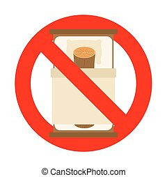 Stop log in bed. Ban bad. Vector prohibitory road sign