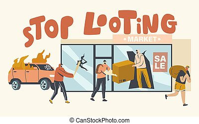 Stop Looting Concept. Aggressive Masked Characters Breaking ...
