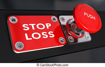 Stop Loss, Trading. - Stop loss panic button with over black...