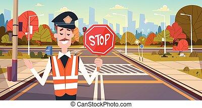 stop, lumières, garde, trafic, passage clouté, route