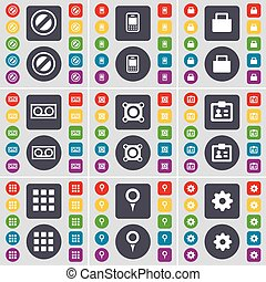 Stop, Mobile phone, Suitcase, Cassette, Speaker, Contact, Apps, Checkpoint, Gear icon symbol. A large set of flat, colored buttons for your design. Vector