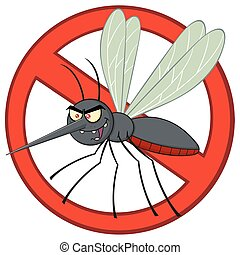 Stop Mosquito Cartoon Character With Prohibited Symbol