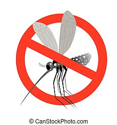 Stop mosquito. Forbidden Zika virus. Frozen mosquito insect. Emblem against virus Zika. Emblem against malaria. Red forbidding character. Ban flying Bloodsucker insect mosquito