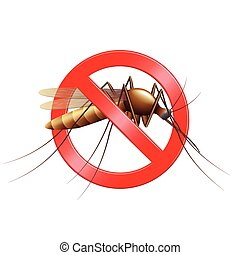 Stop mosquito sign isolated photo realistic vector illustration