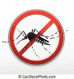 Mosquito stylized silhouette as red danger stop sign. Vector.