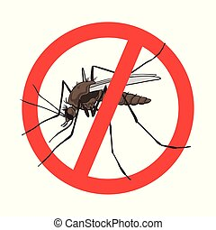 Stop mosquito sign, vector image in a red crossed out circle