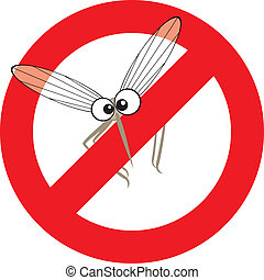 stop mosquito - Vector illustration of cartoon mosquito in...