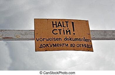 stop!, mostrar, seu, passaporte, como, mensagem, ligado, deutsch, e, ukrainian, linguagens, nostalgia, details.