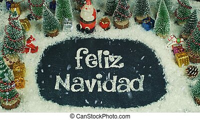 Stop motion animation of Feliz Navidad(Spanish), in English Merry Christmas