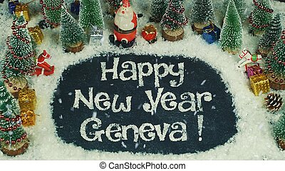Stop motion animation of Happy New Year Geneva - Stop motion...