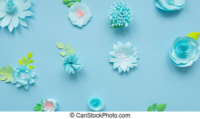 Stop motion animation, the heart of the paper flowers shatters into small flowers