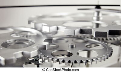 stop motion of a clock face with cogs and dials