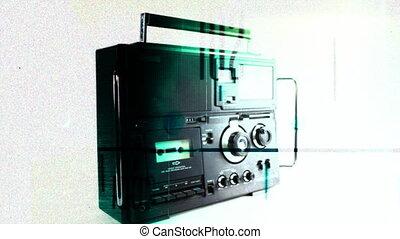Stop motion of a cool vintage radio spiining around