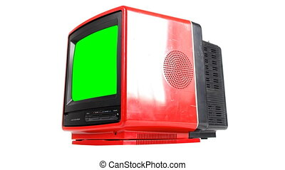 Stop motion of a fantastic retro red television spinning...