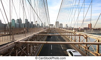 Stop motion of cars and people on brooklyn bridge, NYC