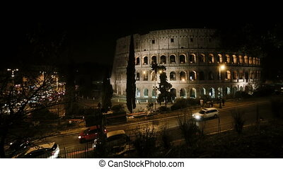 Stop motion video of the Colosseum in Rome, Italy in the...