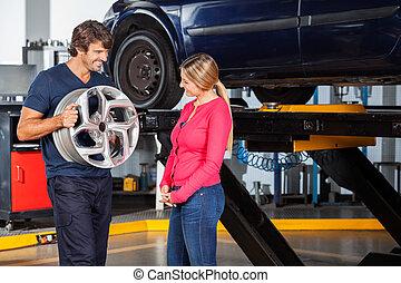 stop, objaśniając, klient, mechanik