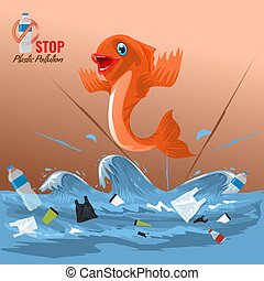 Stop ocean plastic pollution concept with fish character. Plastic garbage bottles in the ocean sea waves. Vector illustration.