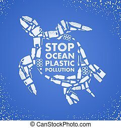 Stop ocean plastic pollution. Ecological poster. Turtle ...