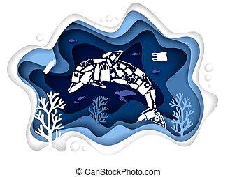 Stop ocean plastic pollution, vector paper cut illustration