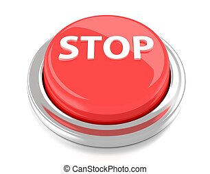 STOP on red push button. 3d illustration. Isolated background.