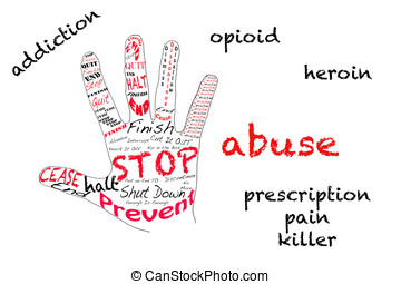 Stop opiod addiction - Outline of hand signalling stop with...