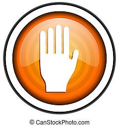 stop orange glossy icon isolated on white background