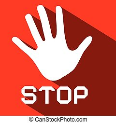 Stop Palm Hand Flat Design Symbol on Red Background
