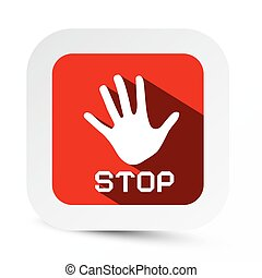 Stop Palm Hand Vector Flat Design Symbol on Rounded Circle Paper Label Isolated on White Background
