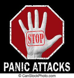 Stop panic attack conceptual illustration.